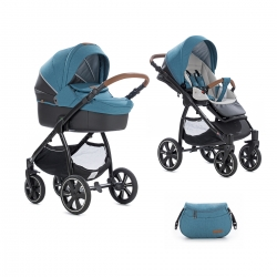 Коляска 2 в 1 Noordi Fjordi Sport Melange Leather Teal 847 (термолюлька) с багажной сумкой